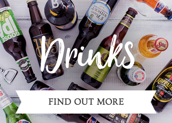 Drinks available at The Three Horseshoes