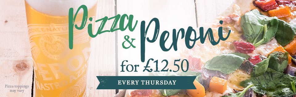 Pizza & Peroni for £12.50