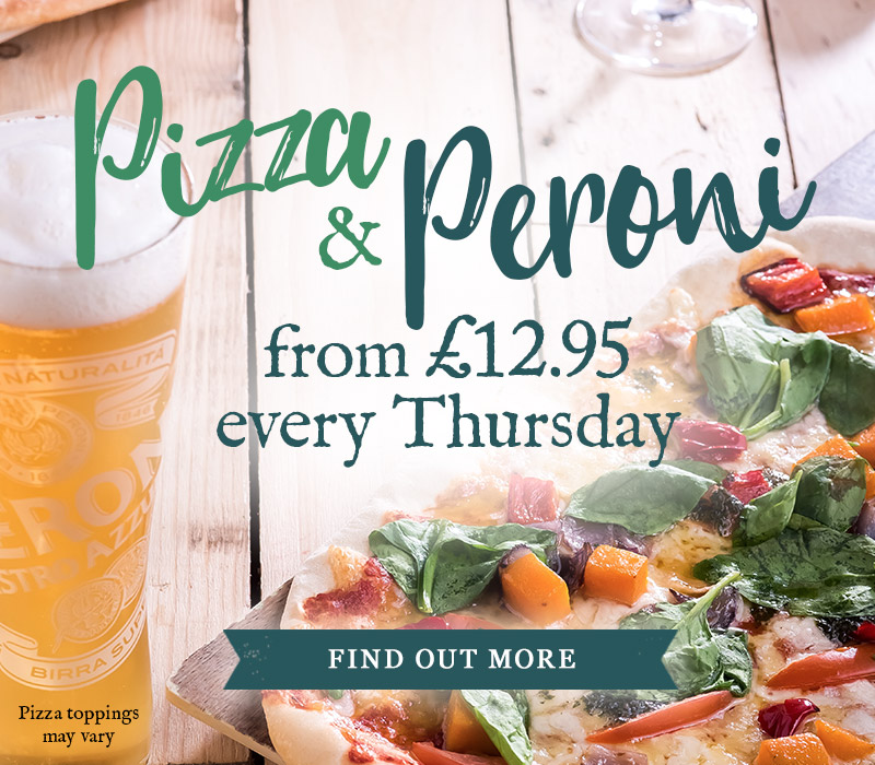 E njoy a Pizza & a Peroni at Ye Olde Greene Manne for only £12.95