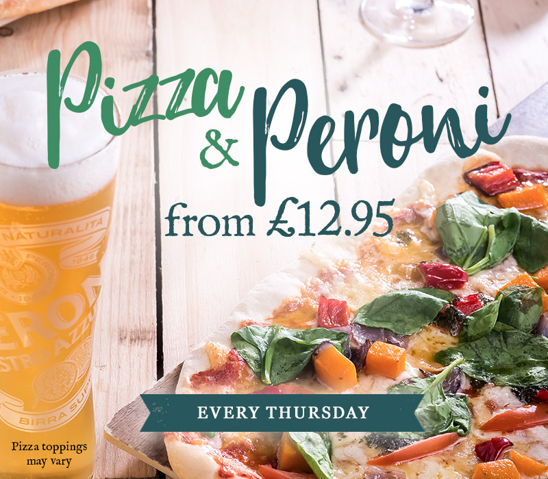 Pizza & Peroni for £12.95