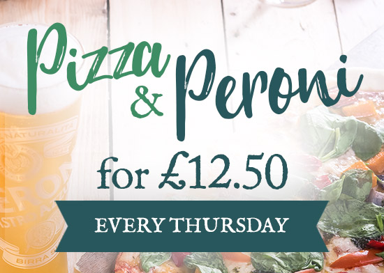 Pizza & Peroni offer at The Snowy Owl